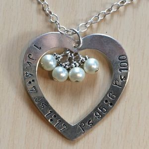 Vintage sterling psalm verses necklace